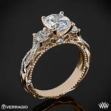 20k Rose Gold Verragio Venetian Lace AFN-5013R-4 Three Stone Engagement Ring | Whiteflash