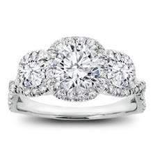 3 Stone Cushion Halo Diamond Engagement Setting | Adiamor
