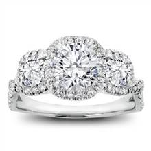 3 Stone Cushion Halo Diamond Engagement Setting | Adiamor