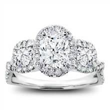 3 Stone Halo Diamond Engagement Setting For Oval | Adiamor