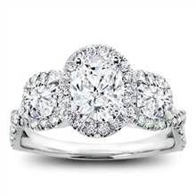 3 Stone Halo Diamond Engagement Setting For Oval | Adiamor
