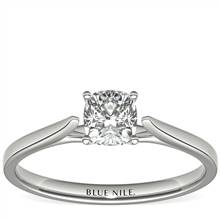 3/4 Carat Astor Cushion-Cut Petite Cathedral Solitaire in Platinum (H/SI2) Ready-to-Ship | Blue Nile