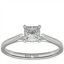 3/4 Carat Astor Princess-Cut Petite Cathedral Solitaire in Platinum (H/SI2) Ready-to-Ship   Blue Nile