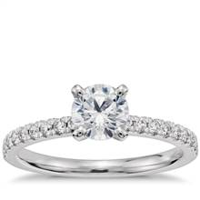 3/4 Carat Ready-to-Ship Petite Pave Diamond Engagement Ring in 14k White Gold | Blue Nile