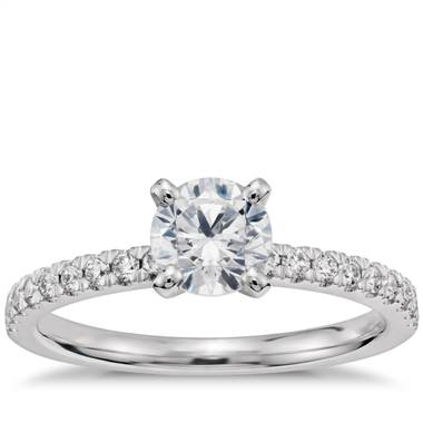 3/4 Carat Ready-to-Ship Petite Pave Diamond Engagement Ring in 14k White Gold