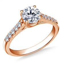 3/4 ct. tw. Round Brilliant Diamond Trellis Engagement Ring in 14K Rose Gold | B2C Jewels