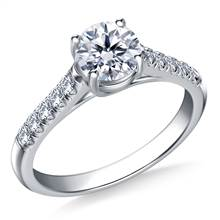 3/4 ct. tw. Round Brilliant Diamond Trellis Engagement Ring in 14K White Gold | B2C Jewels