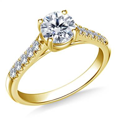 3/4 ct. tw. Round Brilliant Diamond Trellis Engagement Ring in 14K Yellow Gold