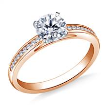3/4 ct. tw. Round Diamond Channel Set Cathedral Engagement Ring in 14K Rose Gold | B2C Jewels