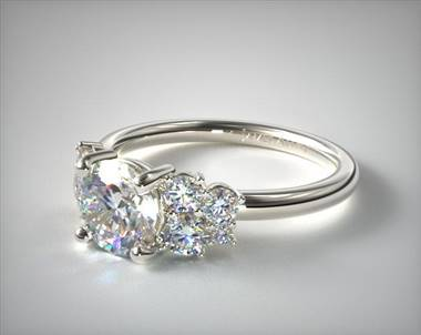 .50ctw Side-Stone Cluster Engagement Ring in 18K White Gold 2mm Width Band (Setting Price)
