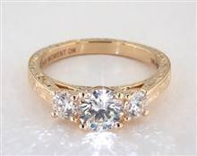.50ctw Three Stone Engraved Engagement Ring in 2.3mm 18K Yellow Gold (Setting Price) | James Allen