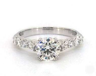 .52ctw 10-Diamond Cathedral Engagement Ring in 2.4mm 18K White Gold (Setting Price)