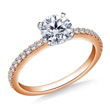 5/8 ct. tw. Round Brilliant Diamond Engagement Ring with Diamond Accents in 14K Rose Gold | B2C Jewels
