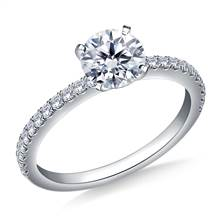 5/8 ct. tw. Round Brilliant Diamond Engagement Ring with Diamond Accents in 14K White Gold | B2C Jewels