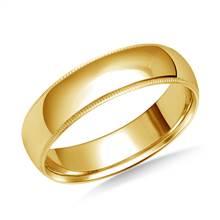 6 mm Comfort Fit Milgrain 14K Yellow Gold Band   B2C Jewels