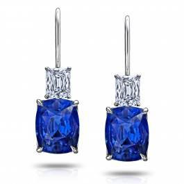 6.80ct Blue Sapphires Drop Earrings with 1.06ct cushion diamonds set in Platinum.
