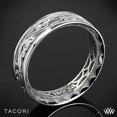 6mm 18k White Gold Tacori 104-6 Sculpted Crescent Eternity Wedding Ring
