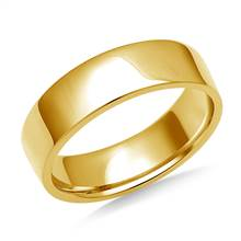 6mm Men's 14K Yellow Gold Flat Comfort Fit Wedding Band. | B2C Jewels