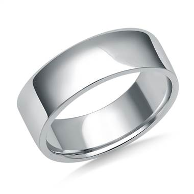 7mm Men's 18K White Gold Flat Comfort Fit Wedding Band.