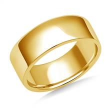 8mm Men's 18K Yellow Gold Flat Comfort Fit Wedding Band. | B2C Jewels