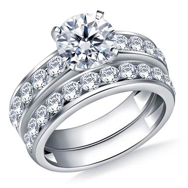 Ageless Channel Set Round Diamond Ring with Matching Band in Platinum (1 1/2 cttw.)