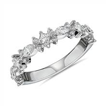 Alternating Mixed Fancy Diamond Wedding Ring in 14k White Gold (3/4 ct. tw.) | Blue Nile