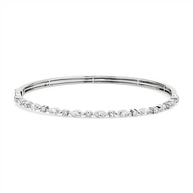Alternating Round and Marquise Diamond Bangle in 14k White Gold (1 1/4 ct. tw.)