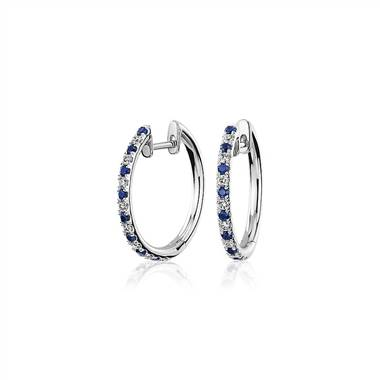 Alternating Sapphire and Diamond Hoop Earrings in 14k White Gold