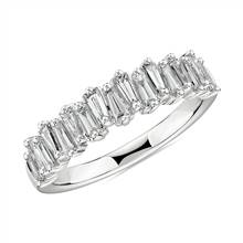 Alternating Tapered Baguette Diamond Wedding Ring in 18k White Gold (5/8 ct. tw.) | Blue Nile