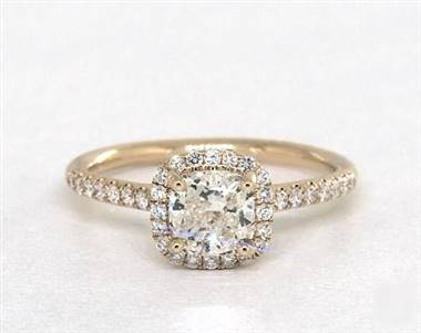 Amazing Cushion Halo Pave .24ctw Engagement Ring in 14K Yellow Gold 1.8mm Width Band (Setting Price)