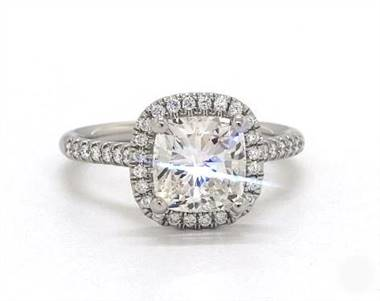 Amazing Cushion Halo Pave .24ctw Engagement Ring in 18K White Gold 1.8mm Width Band (Setting Price)