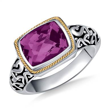 Amethyst Cushion Cut Gemstone Ring Engraved in Sterling Silver and 18K Yellow Gold
