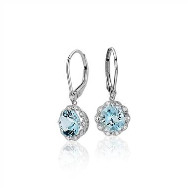 Aquamarine and Diamond Milgrain Halo Leverback Drop Earrings in 14k White Gold (7mm)