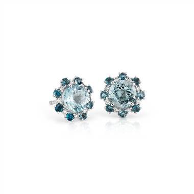 Aquamarine Stud Earrings with London Blue Topaz and Diamond Halo in 14k White Gold (6mm)