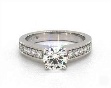 Arched Shoulder Channel-Set Engagement Ring in Platinum 4mm Width Band (Setting Price)