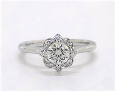 Art Deco Floral Halo Engagement Ring in Platinum 4mm Width Band (Setting Price)