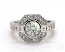 Art Deco Octagonal-Halo Milgrain Pave Engagement Ring in 4mm Platinum (Setting Price) | James Allen