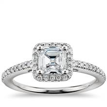 Asscher Cut Halo Diamond Engagement Ring in 14K White Gold | Blue Nile