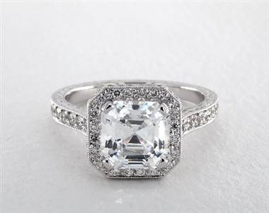 Asscher-Halo Milgrain Pave Engagement Ring in 18K White Gold 4mm Width Band (Setting Price)