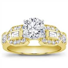 Baguette and Pave Engagement Setting (0.58 CTTW) | Adiamor