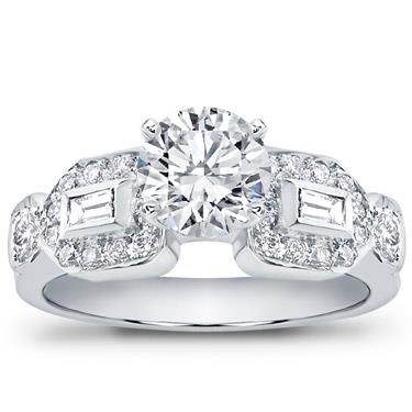 Baguette and Pave Engagement Setting (0.58 CTTW)
