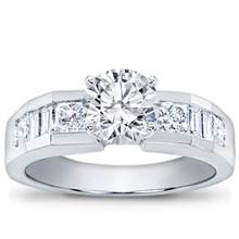Baguette and Princess-Cut Engagement Setting   Adiamor