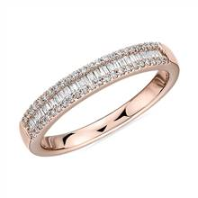 Baguette Cut & Round Pave Diamond Channel Wedding Band in 14k Rose Gold- I/SI2 (1/4 ct. tw.) | Blue Nile