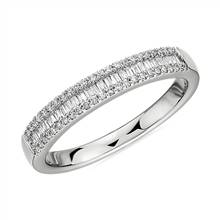 Baguette Cut & Round Pave Diamond Channel Wedding Band in 14k White Gold- I/SI2 (1/4 ct. tw.) | Blue Nile