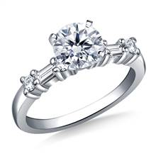 Baguette & Round Diamond Engagement Ring in 14K White Gold (1/3 cttw.) | B2C Jewels