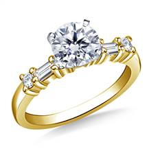 Baguette & Round Diamond Engagement Ring in 14K Yellow Gold (1/3 cttw.) | B2C Jewels
