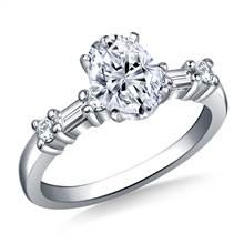 Baguette & Round Diamond Engagement Ring in Platinum (1/3 cttw.)   B2C Jewels