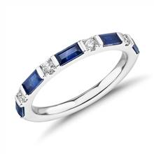 Baguette Sapphire and Diamond Ring in 18k White Gold (4x2mm) | Blue Nile