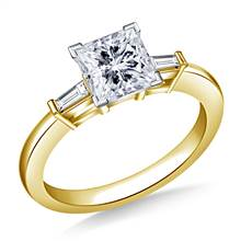 Bar Set Tapered Baguette Diamond Engagement Ring in 18K Yellow Gold (1/8 cttw.) | B2C Jewels
