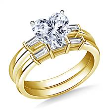 Bar Set Tapered Baguette Diamond Ring with Matching Band in 18K Yellow Gold (3/8 cttw.) | B2C Jewels